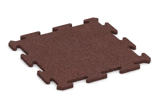 Sportboden-Platte von WARCO im Farbdesign schokobraun mit den Abmessungen 500 x 500 x 18 mm. Produktfoto von Artikel 4227 in der Aufsicht von schräg vorne.
