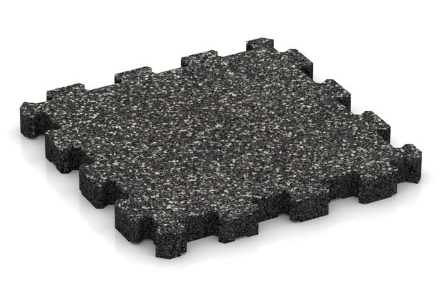 Sportboden von WARCO im Farbdesign Dunkelgrauer Granit mit den Abmessungen 306 x 306 x 30 mm. Produktfoto von Artikel 4271 in der Aufsicht von schräg vorne.