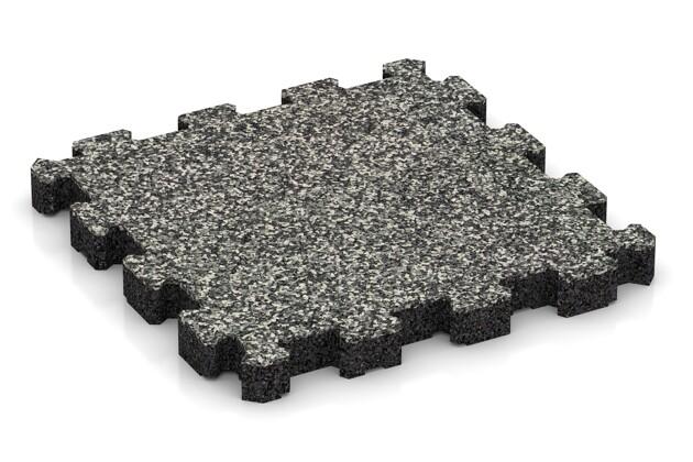 Sportboden von WARCO im Farbdesign Grauer Granit mit den Abmessungen 306 x 306 x 30 mm. Produktfoto von Artikel 4272 in der Aufsicht von schräg vorne.